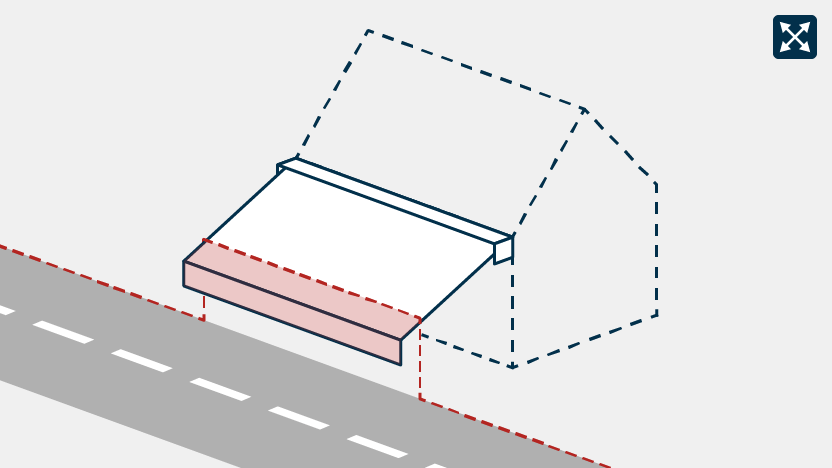 Awning overhanging a road