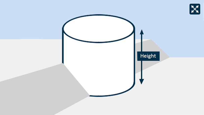 A diagram depicting the height of a rainwater tank.