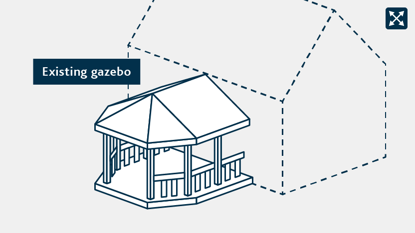 An existing gazebo attached to a house