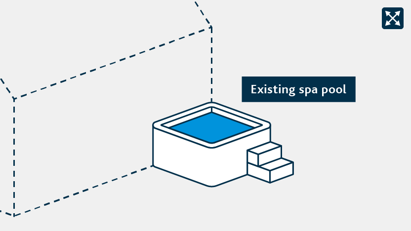 spa pool attached to another building